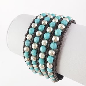 Boho Cuff Bracelet Turquoise Color Beads + Silver
